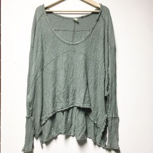 Free People Oversized Sage Waffle Knit Long Sleeve